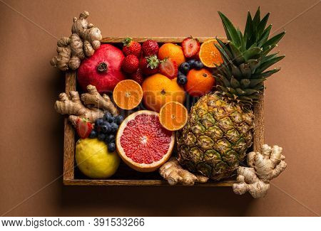 Selection Of Fresh Fruit With Vitamin C And Natural Ingredients To Boost Immune System. Organic Food