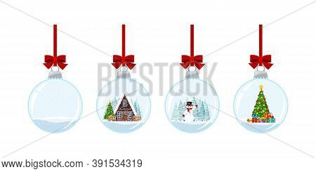 Christmas Ball Set With Snow Isolated On White Background. Hanging Crystal Snow Ball Bauble With Dec