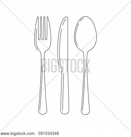 Cutlery Line Art Icon Set Isolated On White Background. Top View Lineart Silverware - Fork Knife Spo