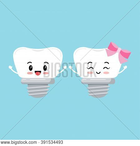 Dental Implant Tooth Orthodontist Icon Set Isolated On Background. Cute Smilling Teeth With Implant