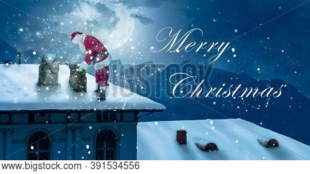 Christmas Greeting Card With Santa On A Snow-covered Roof Looking Into Chimney