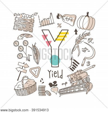 Letter Y - Yield, Cute Alphabet Series In Doodle Style, Vector Illustration