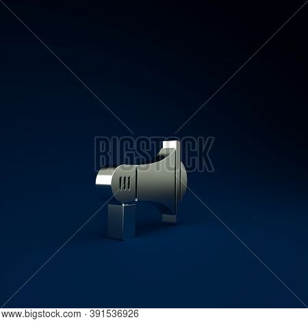Silver Megaphone Icon Isolated On Blue Background. Loud Speach Alert Concept. Bullhorn For Mouthpiec