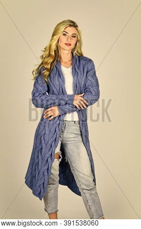 Oversize Cardigan For Your Comfort. Fashionable Cardigan. Girl Stylish Outfit With Soft Wool Cashmer