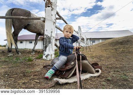 Cute Adorable Caucasian Little Pensive Toddler Portrait Boy Sitting On Saddle On Ground Enjoy Having