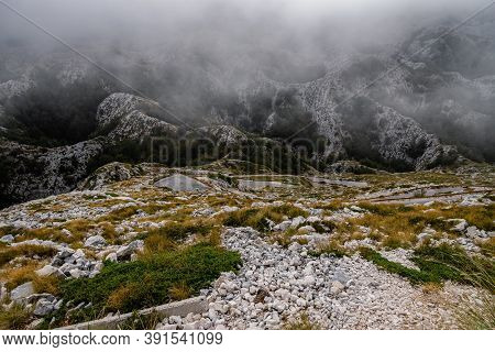 View From The Mountain Biokovo. Mountain Landscape With Low Clouds. Croatia