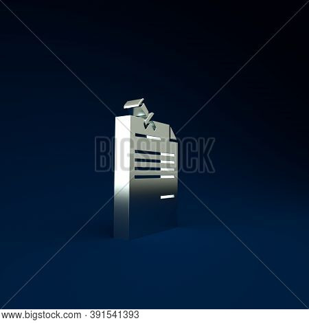 Silver Note Paper With Pinned Pushbutton Icon Isolated On Blue Background. Memo Paper Sign. Minimali