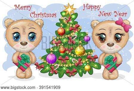 A Pair Of Cute Cartoon Teddy Bear With Big Eyes And A Christmas Present In Paws Near A Christmas Tre