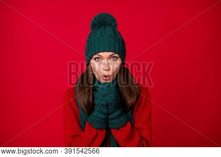 Close-up Portrait Of Her She Nice Attractive Pretty Lovely Cute Cheery Girl Wearing Wool Warm Clothe