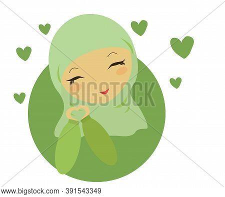 Muslim Woman In A Green Shawl. Cartoon. Vector Illustration.