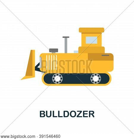 Bulldozer Icon. Simple Element From Construction Collection. Creative Bulldozer Icon For Web Design,