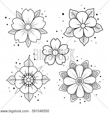 Old School Tattoo Flower Set. Hand Drawn Black Outline Inflorescence. Traditional Classic Sketch Tat
