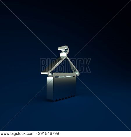 Silver Hanger Wardrobe Icon Isolated On Blue Background. Clean Towel Sign. Cloakroom Icon. Clothes S