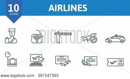 Airlines Icon Set. Collection Contain Takeoff, Landing, Around The World, Parking, Paid, Parking, Ai