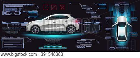 City Smart Electric Car. Car User Interface Hud, Gui, Ui. Dashboard With Car And Settings. Virtual G