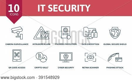 It Security Icon Set. Collection Contain Encrypted Messaging, Process Protection, Data Encryption, I