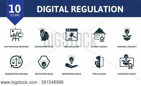 Digital Regulation Icon Set. Collection Contain Copyrighted Artwork, Inspiration Ideas, Online Court