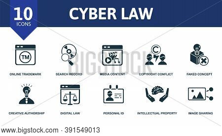 Cyber Law Icon Set. Collection Contain Online Trademark, Invention Patent, Free Access, Borrowing Id