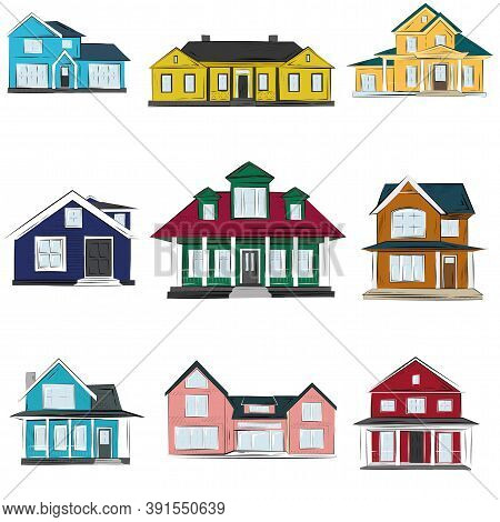 Houses Vector Illustration, Front View Exterior Sketch Illustration Of American Houses And Homes. Ic