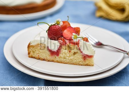 Pie With Cream And Strawberries On A Summer Background. . Homemade Summer Dessert.