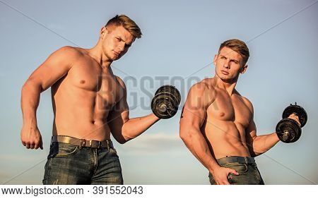 Strong Muscular Athlete Bodybuilder. Attractive Twins. Sexy Torso Attractive Body. Adding Weight On