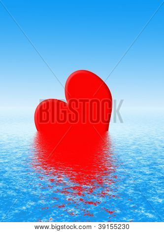 Valentine heart shape with simulated water reflection