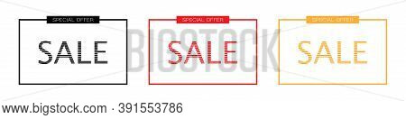 Outline Sale Banner Template. Isolated Special Offer Frame On White Background. Transparent Square B