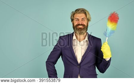 Great Service. Cleaning The Apartment. Businessman Use Pp Duster. Hipster Holding Cleaning Tool. Cle