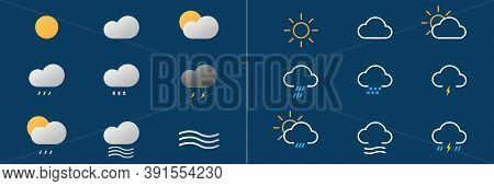 Weather Forecast Icons. Big Set Of Outline And Bold Pictograms. Sunny And Cloudy Sign. Wind And Rain