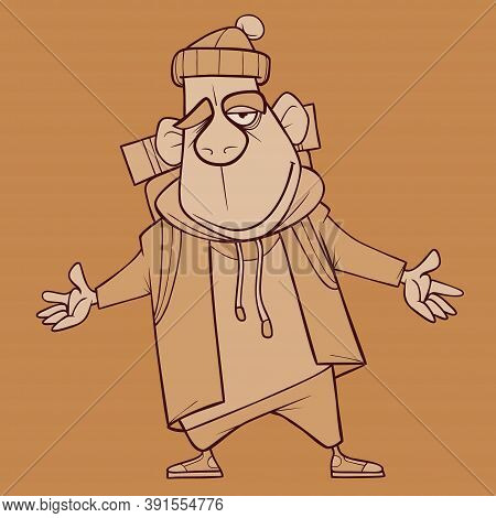 Sketch Of Funny Cartoon Winking Smiling Male Tourist With Backpack Standing Open Arms