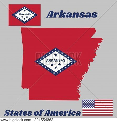 Map Outline And Flag Of Arkansas, A Rectangular Field Of Red, A Large White Diamond, Bordered By Blu