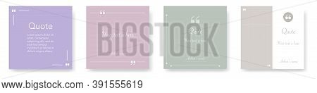 Quote Box Template. Isolated Quotation Frame Mockup. Pink And Light Green Colors. Text Brackets With