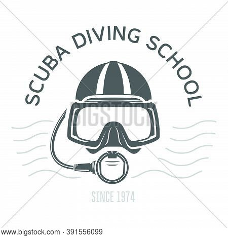 Scuba Diving Emblems Or Logo, Diving Mask And Aqualung, Underwater Swimming Design With Face Of Dive