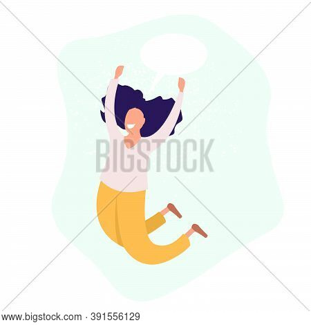 Young Joyful Woman Cartoon Characters Jumping, Happy Girl, Gladness Emotion, Flat Vector Illustratio