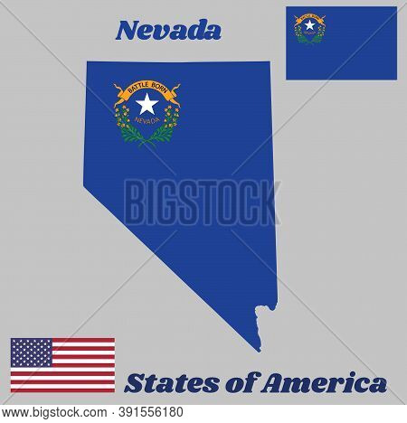Map Outline And Flag Of Nevada, Solid Cobalt Blue Field. The Canton Contains Two Sagebrush Branches