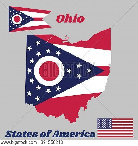 Map Outline And Flag Of Ohio, Guidon Consisting Of 5 Horizontal Stripes Alternating Between Red And