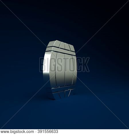 Silver Wooden Barrel Icon Isolated On Blue Background. Alcohol Barrel, Drink Container, Wooden Keg F