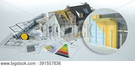 3D rendering of a home under construction with blueprints and energy efficiency chart and  wall insulation construction technical details