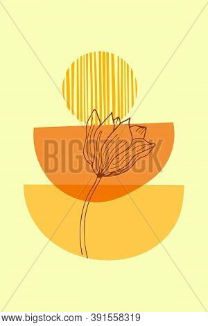 Trendy Mid Century Art For Boho Home Decor, Posters Design, Invitations. Yellow And Terracotta Moder