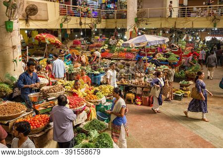 Panaji, India - January 16, 2020: Food market in Panaji, Goa, India. Colorful indian food market with fruits and vegetables