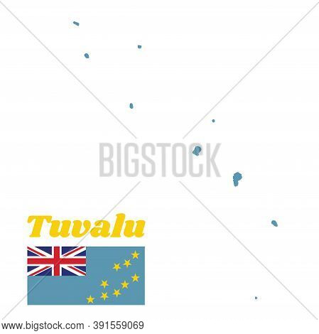 Map Outline And Flag Of Tuvalu, A Light Blue Ensign With The Map Of The Island Of Nine Yellow Stars