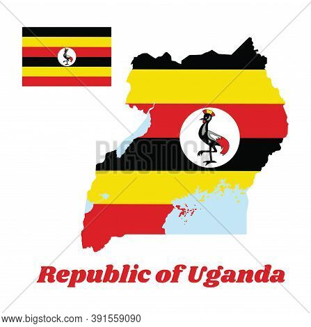 Map Outline And Flag Of Uganda, Horizontal Bands Of Black Yellow And Red ; A White Disc Depicts The
