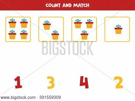 Count All Objects And Match With Numbers. Math Game With Present Boxes.