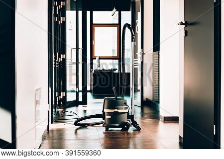 Janitorial Service. Professional Vacum Cleaner. Office Space
