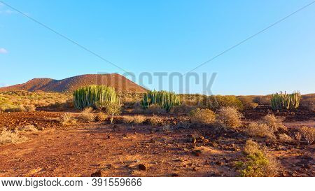 Barren landscape in the south of Tenerife at sunset, Canary Islands, Spain