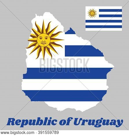 Map Outline And Flag Of Uruguay, Horizontal Stripes Of White Alternate With Light Blue And The Sun O