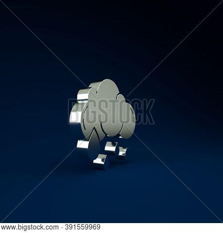 Silver Cloud With Rain Icon Isolated On Blue Background. Rain Cloud Precipitation With Rain Drops. M