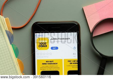 New York, Usa - 26 October 2020: Jumbo Foodcoach Mobile App Logo On Phone Screen Close Up, Illustrat