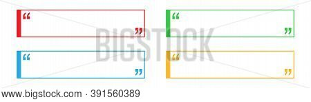 Quote Frame In Red, Blue, Yellow And Green. Blank Square Text Box On White Background. Isolated Spee