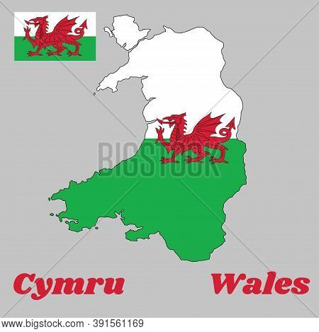 Map Outline And Flag Of Wales, Consists Of A Red Dragon Passant On A Green And White Field. With Nam